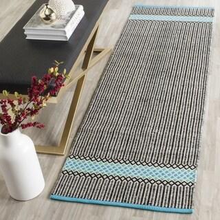 Safavieh Hand-Woven Montauk Turquoise/ Multi Cotton Rug (2' 3 x 11')