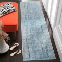 Safavieh Mystique Watercolor Light Blue/ Multi Silky Rug - 2' 3 x 12'