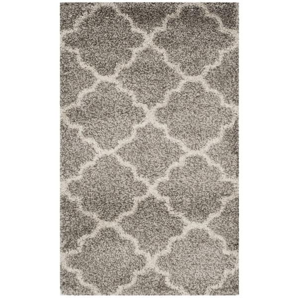 Safavieh Hudson Quatrefoil Shag Grey/ Ivory Rug (2' 3 x 3' 9)