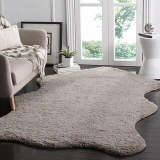 Safavieh Handmade Sheep Shag Silver Polyester Rug (2' x 3')