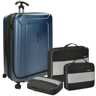 Traveler's Choice Barcelona 30-inch Polycarbonate Hardside Spinner Suitcase and Packing Cubes Set