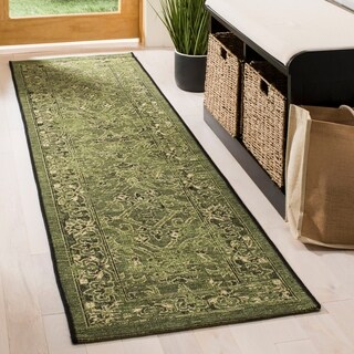 Safavieh Palazzo Black/ Cream/ Dark Green Oriental Runner Rug - 2' x 7'3