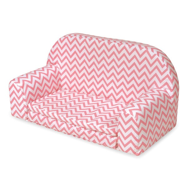 Badger Basket Upholstered Doll Sofa with Foldout Bed Pink Chevron