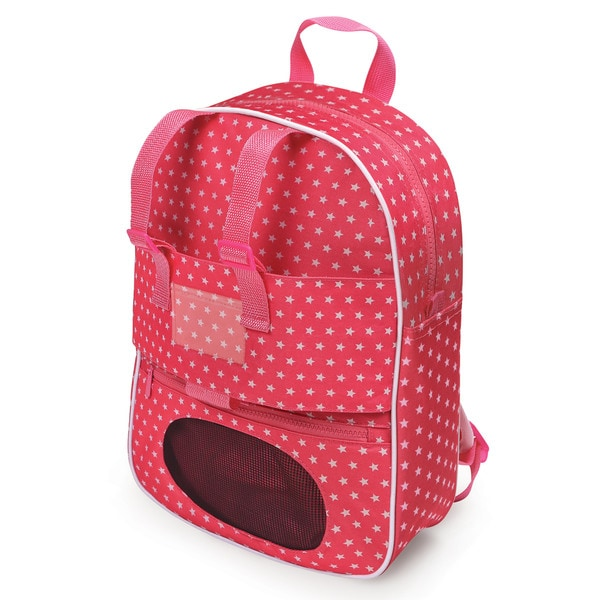 Badger Basket Doll Travel Backpack with Plush Friend Compartment Star Pattern