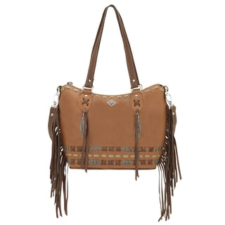 American West Mohican Melody Tan Leather Bucket Tote