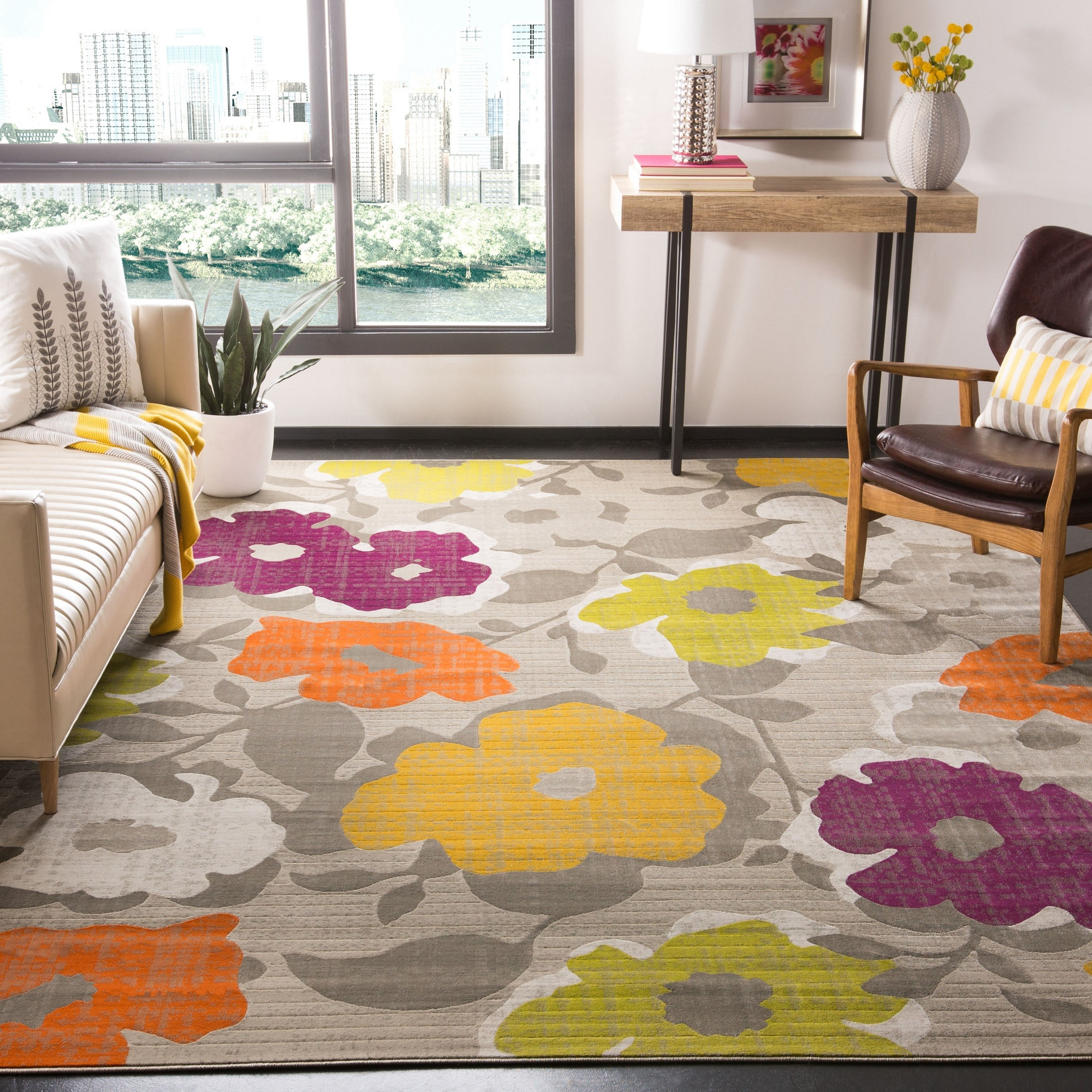 Safavieh Porcello Contemporary Floral Grey/ Yellow Rug (2...