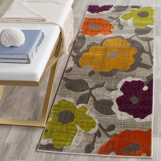 Safavieh Porcello Contemporary Floral Grey/ Yellow Rug (2' 4 x 9')