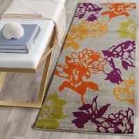 "Safavieh Porcello Contemporary Floral Light Grey/ Purple Rug - 2'4"" x 9'"