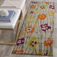 "Safavieh Porcello Contemporary Floral Light Grey/ Purple Rug - 2'4"" x 9'"