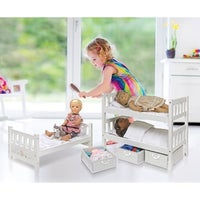 Badger Basket 1 2 3 Convertible Doll Bunk Bed With Storage Baskets White Rose