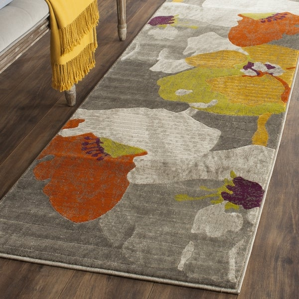 Safavieh Porcello Contemporary Floral Dark Grey/ Ivory Rug - 2'4 x 11'