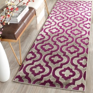 Safavieh Porcello Contemporary Geometric Light Grey/ Purple Rug (2' 4 x 9')