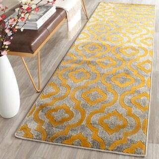 Safavieh Porcello Contemporary Moroccan Light Grey/ Yellow Rug (2'4 x 9') - 2'4 x 9'