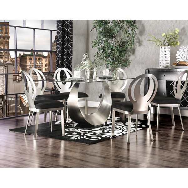 Furniture of America Serenia Contemporary Satin Metal Dining Table ...