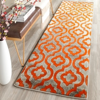 Safavieh Porcello Contemporary Geometric Light Grey/ Orange Rug (2' 4 x 9')