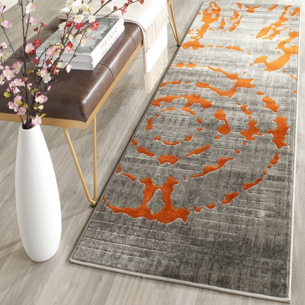 Safavieh Porcello Abstract Contemporary Light Grey/ Orange Runner Rug (2'4 x 9')
