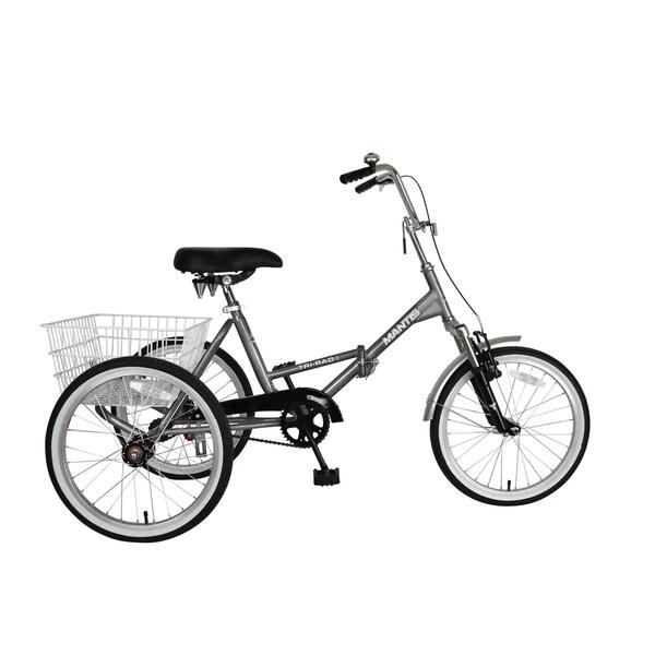 Mantis Tri-Rad 20-inch Adult Folding Tricycle, Silver