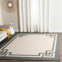 Safavieh Hand-Hooked Four Seasons Greek Key Ivory / Charcoal Rug - 4' x 6'
