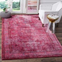 Safavieh Valencia Red/ Multi Overdyed Distressed Silky Polyester Rug - 4' x 6'