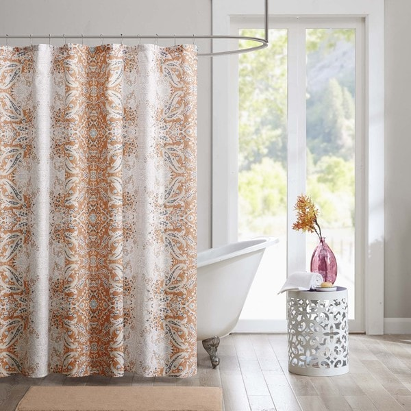 Intelligent design raina printed orange shower curtain - Intelligent shower ...