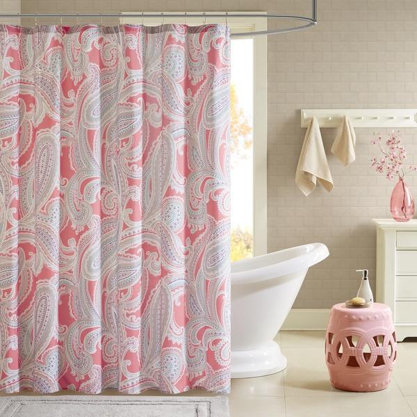 Intelligent Design Daniela Printed Pink Shower Curtain