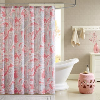 Intelligent Design Daniela Printed Pink Shower Curtain