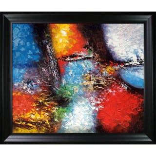 Celito Medeiros 'Abstract I' Hand-painted Framed Canvas Art