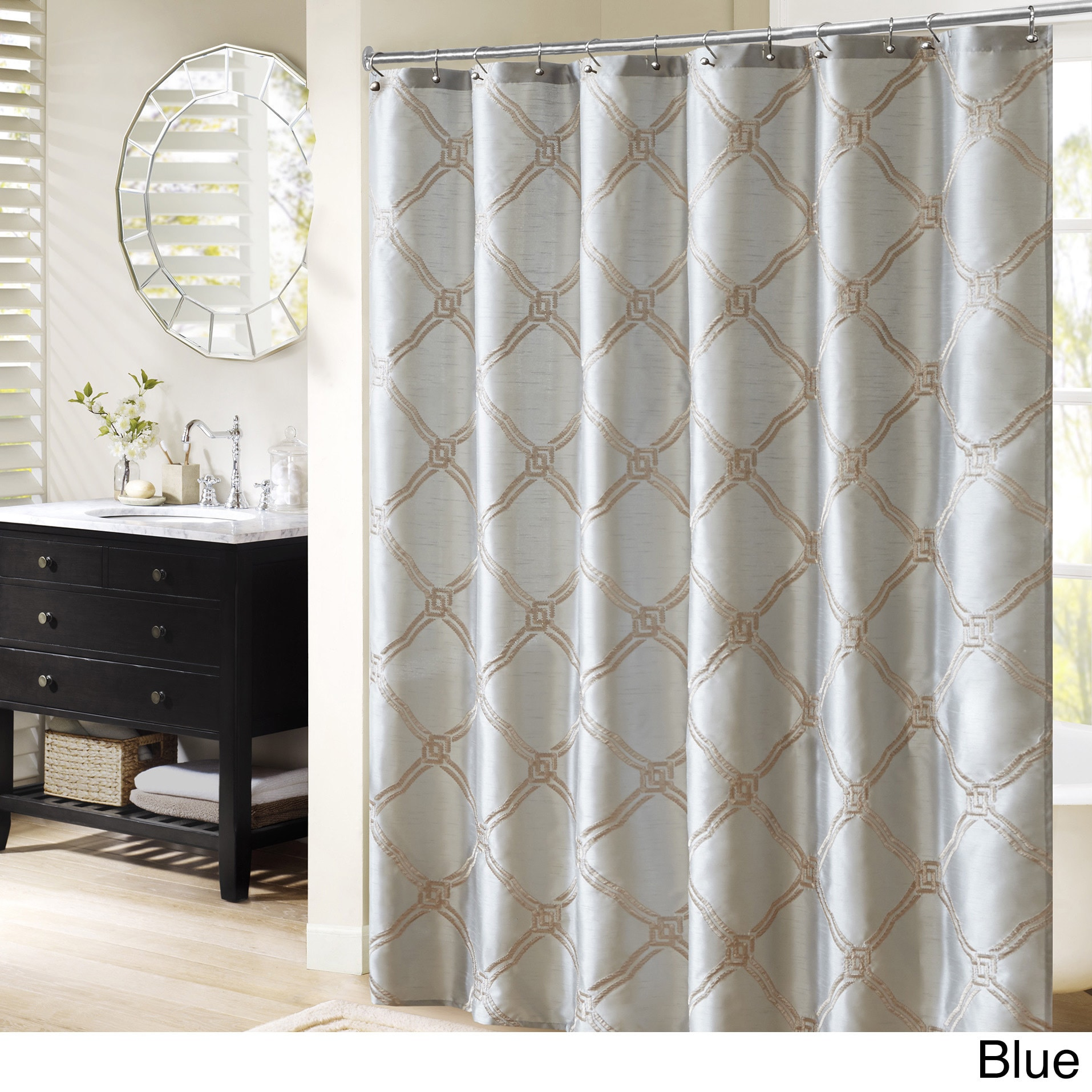 """Bombay Teramo Embroidered Shower Curtain (72x72""""-Blue), Blue"""