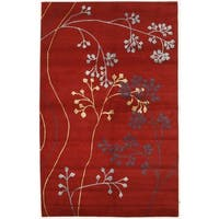 Hand-knotted with Simple Floral Motif Area Rug  (5' x 8')