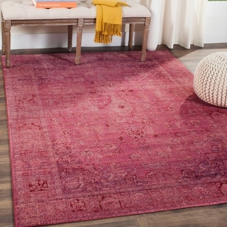 Safavieh Valencia Red Overdyed Distressed Silky Polyester Rug (5' x 8')