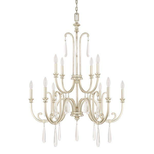 Capital Lighting Cambridge Collection 10 Light Winter Gold Chandelier