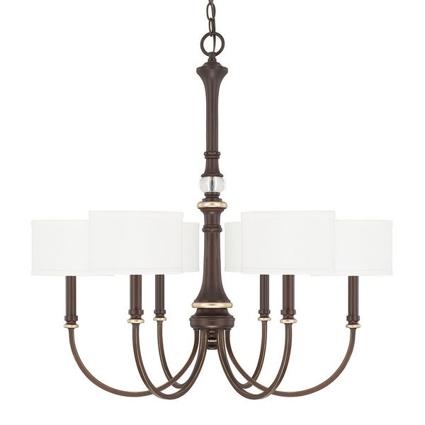 Capital lighting asher collection 6 light champagne bronze chandelier