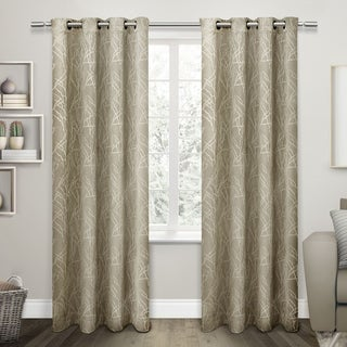 ATI Home Twig Insulated Blackout Curtain Panel Pair with Grommet Top (54X84 - Taupe)