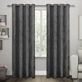 ATI Home Twig Insulated Blackout Curtain Panel Pair with Grommet Top (54X96 - Charcoal)
