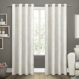 ATI Home Twig Insulated Blackout Curtain Panel Pair with Grommet Top (54X96 - Vanilla)