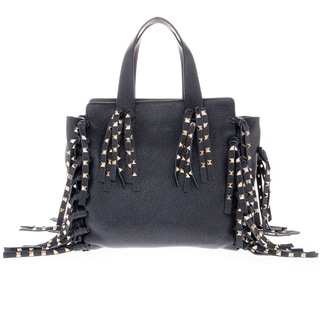 Valentino Navy Grained Leather Studded Tassel and Fringe Tote