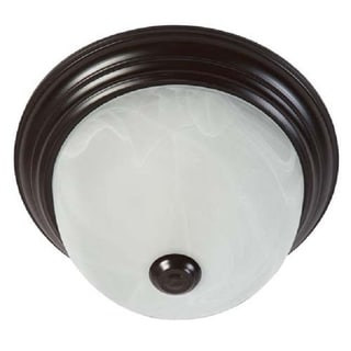 Oil Rubbed Bronze Flush Mount Light Fixture with White Marble Glass