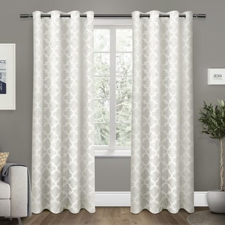 Link to ATI Home Cartago Woven Blackout Curtain Panel Pair with Grommet Top Similar Items in Privacy Curtains