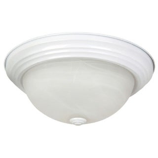 White Flush Mount Light Fixture with White Alabaster Glass