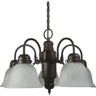 Y-Decor Mike 5 Light Chandelier with Shade, in Dark Brown
