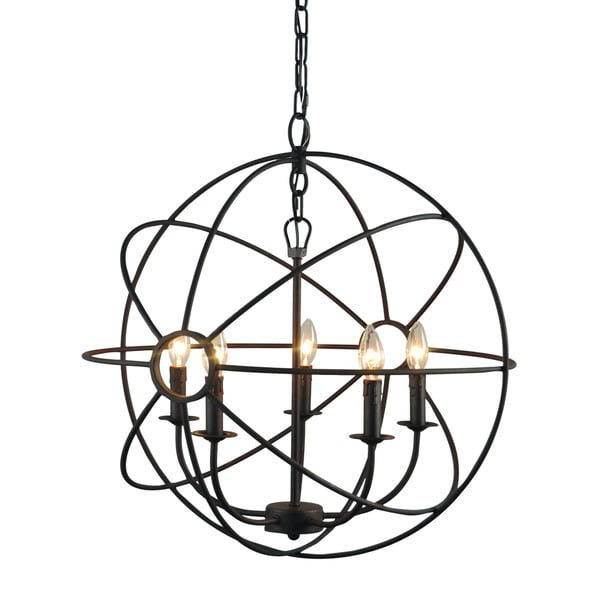 Infinity Orb 5 Light Chandelier In Dark Bronze Finish Free Shipping Today