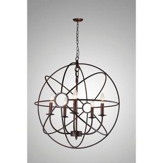 Infinity Orb 5 Light Chandelier in Dark Bronze Finish