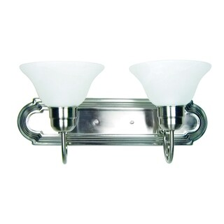 Monica Satin Nickel Finish 2-light Vanity Light Fixture with White Alabaster Glass