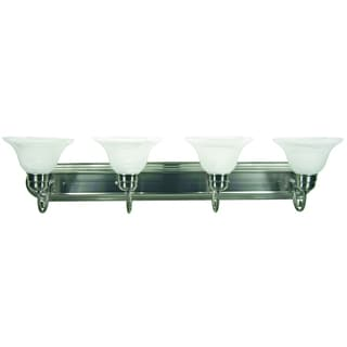 Monica 4 Light Vanity Light Satin Nickel Finish with White Alabaster Glass
