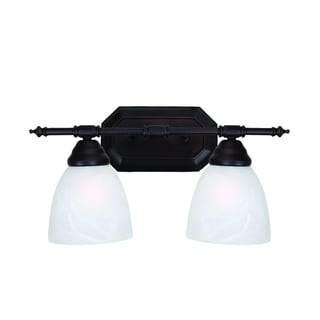 Jeffrey 2-light Oil Rubbed Bronze Finish Vanity Fixture with White Alabaster Glass