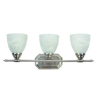 Jeffrey 3 Light Vanity Light Fixture Brushed Nickel Finish with White Alabaster Glass
