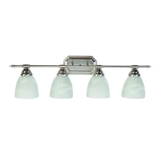 4-light Brushed Nickel Finish Vanity Fixture with White Alabaster Glass