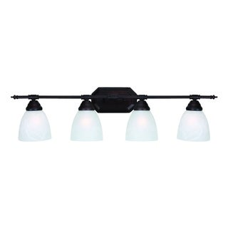 Jeffrey 4 Light Oil Rubbed Bronze Finish Vanity Bathroom Light Fixture with White Alabaster Glass