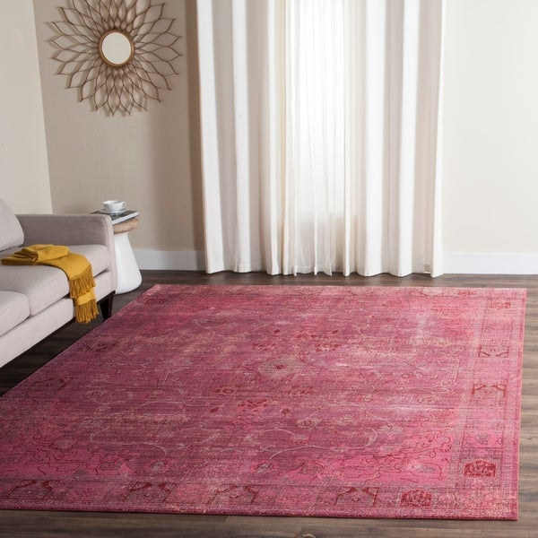 Safavieh Valencia Red Overdyed Distressed Silky Polyester Rug - 9' x 12'