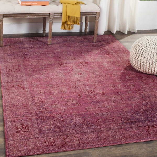 Safavieh Valencia Red Overdyed Distressed Silky Polyester Rug (9' x 12')